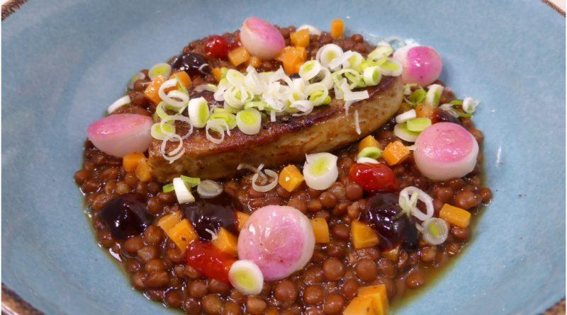 Receta Lentejas en miso con foie a la plancha, hoisin y chile