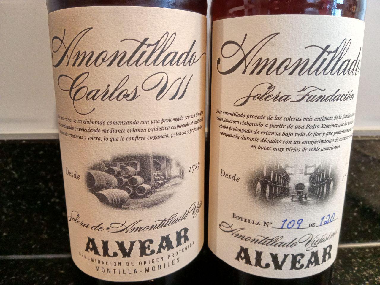 Alvear Carlos VII Amontillado de Solera Viejo vs Alvear Solera Fundación de Amontillado Viejísimo, Saca 1/2018, botella nº 109 de 120